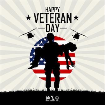 Formato eps 10 da ilustração do feliz dia veterano pronto