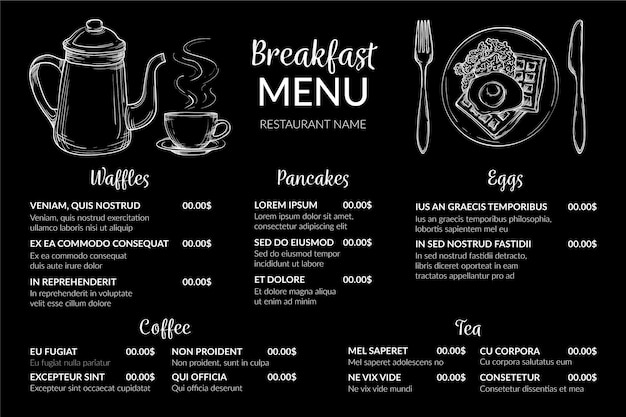 Formato horizontal do menu digital de café da manhã