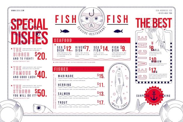 Formato horizontal do menu digital do restaurante