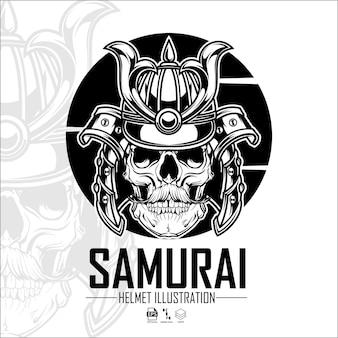 Formato pronto para ilustração de capacete de samurai eps 10