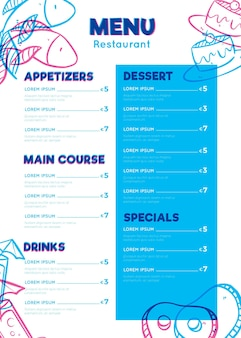 Formato vertical do menu digital do restaurante