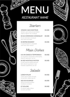 Formato vertical do menu do restaurante