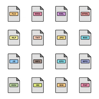 Formatos de arquivo conjunto de ícones