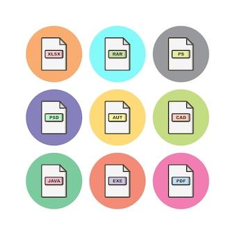 Formatos de arquivo folha de ícones isolada no fundo branco