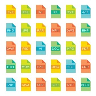 Formatos de arquivo ícones da cor completa