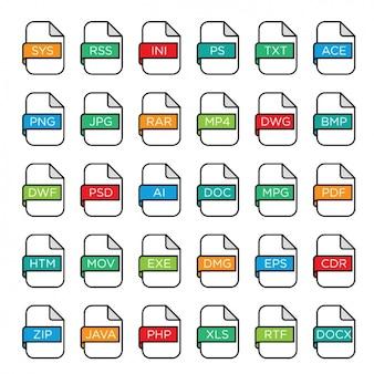 Formatos de arquivo ícones