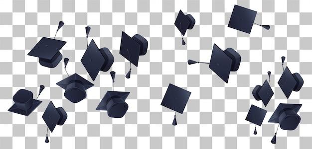 Formatura do ensino médio voar em fundo transparente