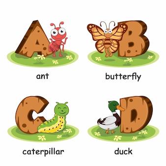 Formiga borboleta lagarta pato animais madeira alfabeto
