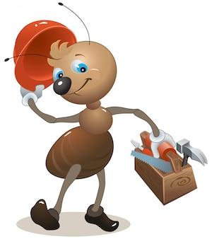 Formiga carpinteiro na caixa de ferramentas de ursos de capacete