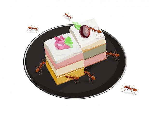 Formigas comendo bolo isolado no fundo branco