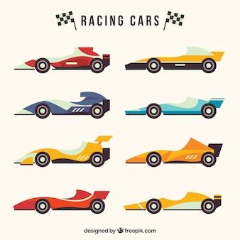 Fórmula 1 coleção de carros de corrida com design plano