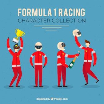 Fórmula 1 coleção de personagens de corrida com design plano