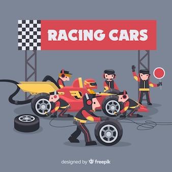 Fórmula 1 pit stop trabalhadores fundo