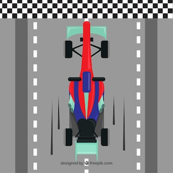 Fórmula plana 1 linha de chegada de travessia de carro de corrida