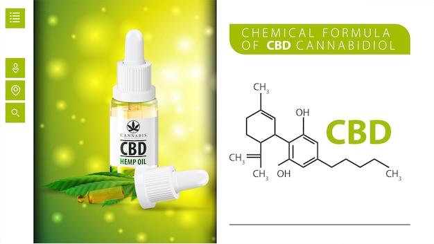 Fórmula química de cbd canabidiol e frasco de óleo cbd com pipeta.