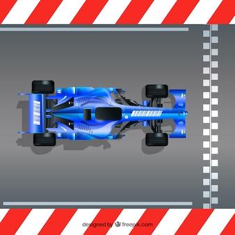 Fórmula realista 1 carro de corrida na linha de chegada