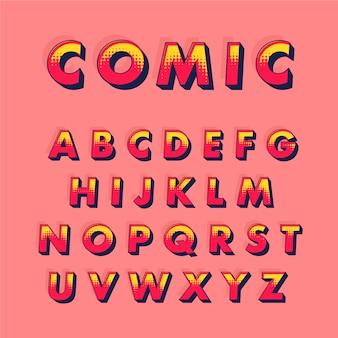 Formulação do alfabeto de à z no conceito de quadrinhos 3d