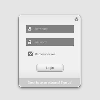 Formulário de caixa de login