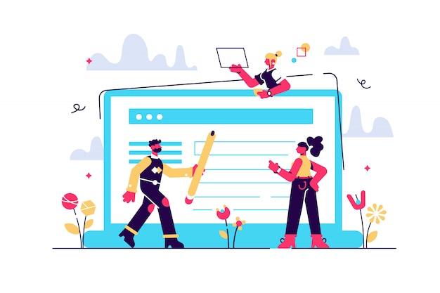 Formulário de candidatura do conceito de emprego. as pessoas selecionam um currículo para um trabalho para uma página da web, apresentação, mídia social, documentos. funcionário de ilustração escreve um resumo - as pessoas preenchem um formulário