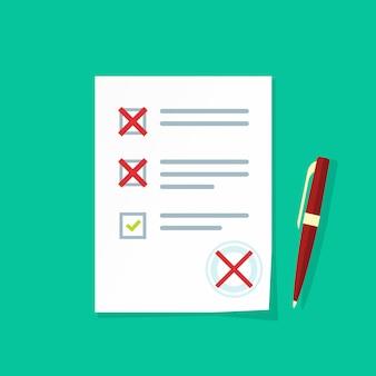 Formulário de exame de papel com vetor de avaliação com falha