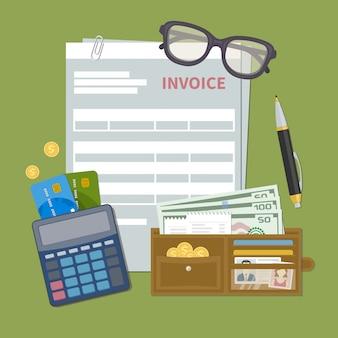 Formulário de fatura de documento em papel. conceito de pagamento da fatura. imposto, recibo, conta. carteira com dinheiro, moedas de ouro, cartões de crédito, calculadora, caneta, óculos. ilustração em estilo simples.