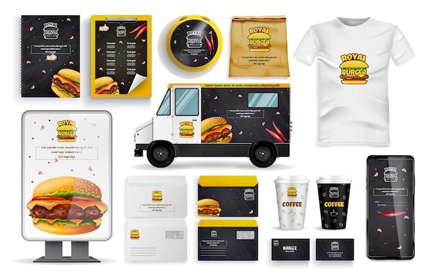 Formulário de hambúrguer, veículo de entrega e conjunto de aplicativos on-line