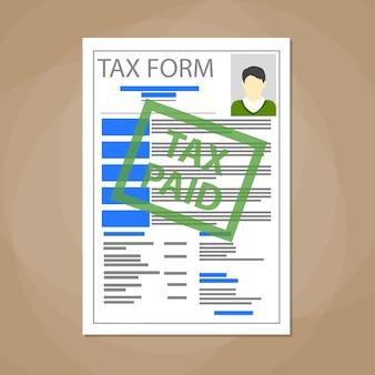 Formulário de imposto branco em branco