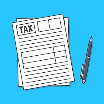 Formulário de imposto com caneta