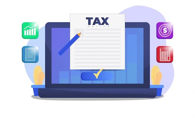 Formulário de imposto na tela do laptop