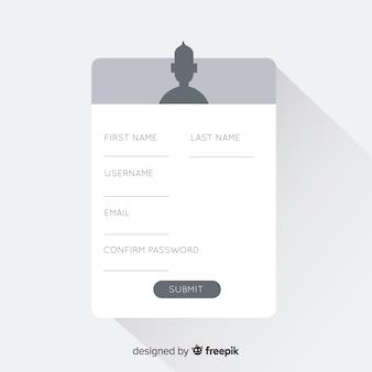 Formulário de inscrição moderna com design plano