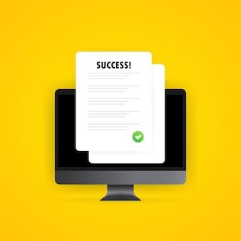 Formulário de lista de verificação da pesquisa ou lista de tarefas completa na ilustração do computador. resultado de sucesso. relatório do questionário na tela, teste aprovado ou resultados de exame. vetor em fundo branco isolado. eps 10.