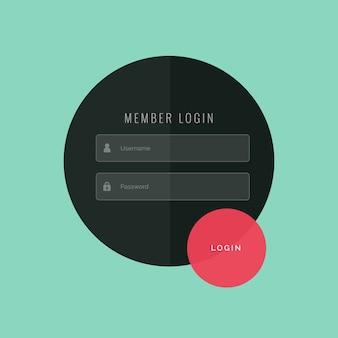 Formulário de login criativo do projeto do molde ui