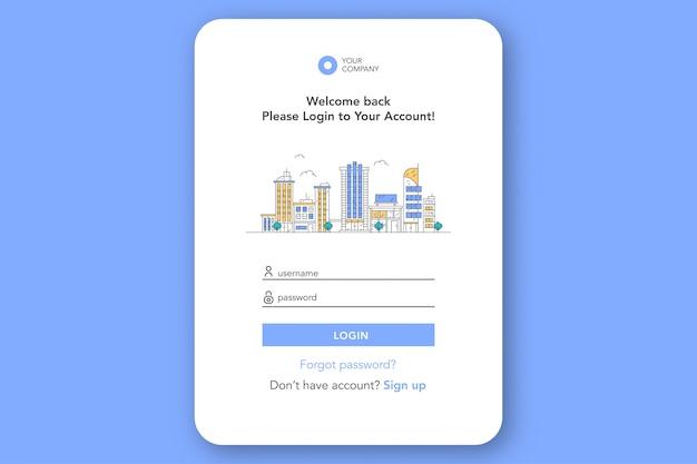 Formulário de login da página de destino