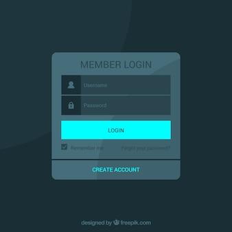 Formulário de login de design plano