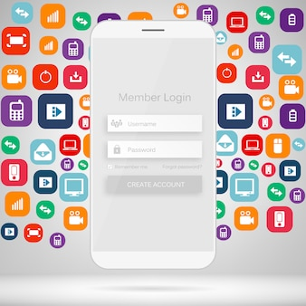 Formulário de login do membro interface web móvel.