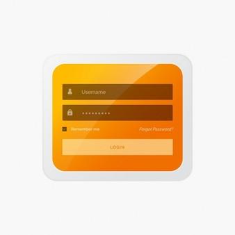 Formulário de login elegante no tema amarelo para o site e aplicativo móvel