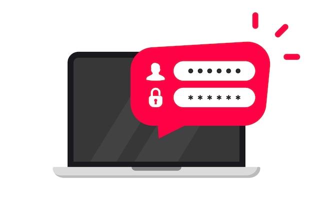 Formulário de login em um computador. registro online. faça login na conta. autorização do usuário em uma janela do laptop. conceito de página de autenticação de login. laptop com página de formulário de login e senha na tela