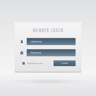 Formulário de login membro do elegante interface de usuário de luz