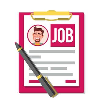 Formulário de pedido de emprego.