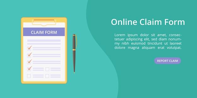 Formulário de pedido na área de transferência com modelo de caneta web