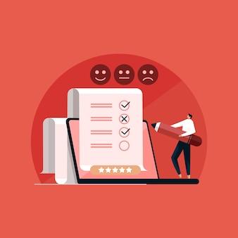 Formulário de pesquisa on-line homem marcando a lista de verificação feedback da experiência do cliente e conceito de satisfação do cliente de crm