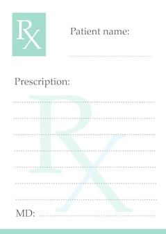 Formulário de prescrição médica de medicamentos