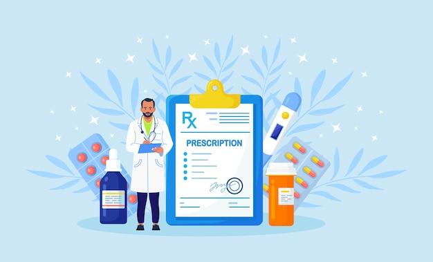 Formulário de prescrição médica rx de medicamentos, frasco de comprimidos, blisters com cápsulas. o farmacêutico segura a prancheta para preencher o recibo e a receita para o paciente. farmacologia, indústria farmacêutica