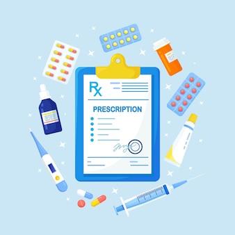 Formulário de prescrição médica rx de medicamentos, frasco de comprimidos, blisters com cápsulas.