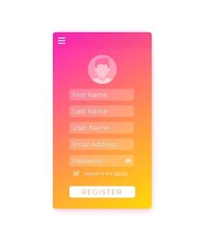 Formulário de registro, design de interface do usuário móvel