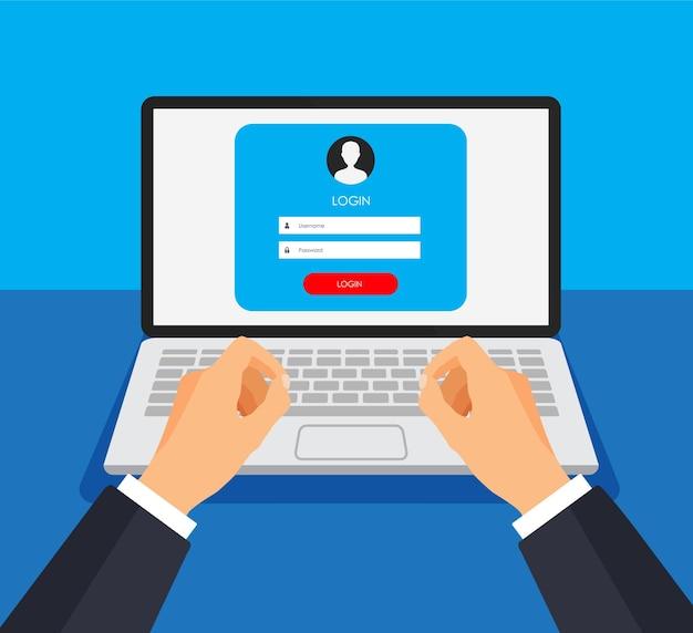 Formulário de registro e página de formulário de login em uma tela de monitor