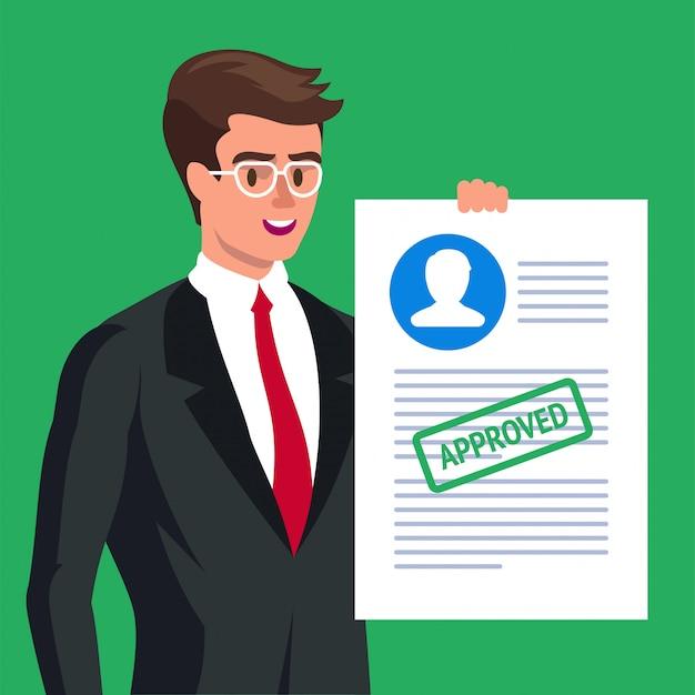 Formulário de reivindicação. homem feliz e formulário de candidatura aprovado