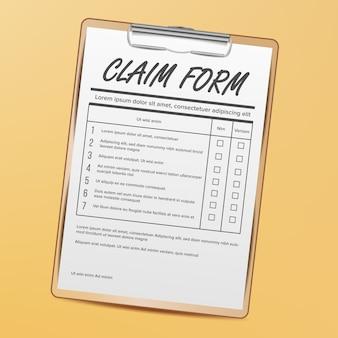 Formulário de reivindicação. médico, papelada de escritório