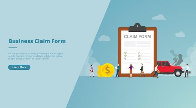 Formulário de reivindicação no banner do site da área de transferência