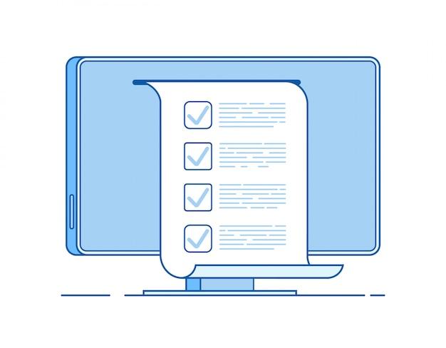 Formulário de teste de computador na tela do pc